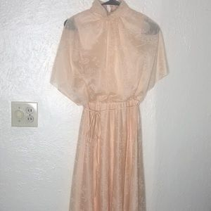 1930-40's Dreamy Peach Cap Sleeve Dress
